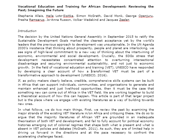 Vocational Education and Training (VET) Africa 4.0 First VET Africa 4.0 academic paper (May 2019)