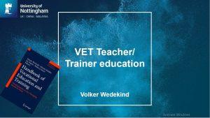 vet teacher/ trainer education